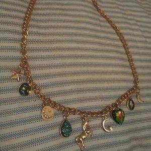 Gold unicorn charm necklace